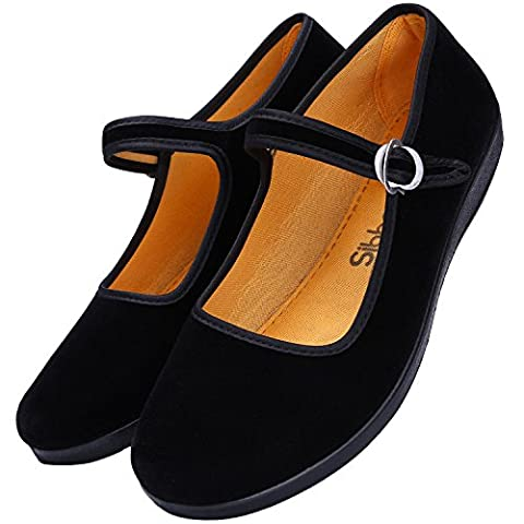 Femmes Noir Mary Jane Shoes - Sibba Mary Janes Chaussures en Toile Baskets