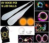 UV calcetín Poi Set + 2x LED Glow pelotas de malabares (naranja) + bolsa de viaje–pilas incluidas.