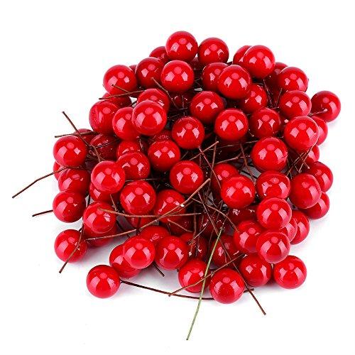 GLOGLOW 100Pcs Simulationsschaum Beeren Kirsche Künstliche Rote Holly Berry Christmas Home Decoration hängende Verzierungen Holly Berry