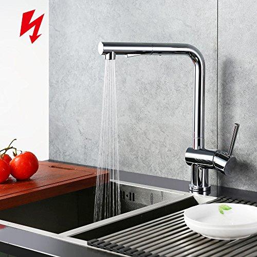 Homelody Chrom Niederdruckarmatur Wasserhahn herausziehbar Küchenarmatur mit Brause niederdruck armatur Spültisch Spültischarmatur Mischbatterie Einhebelmischer für Küche
