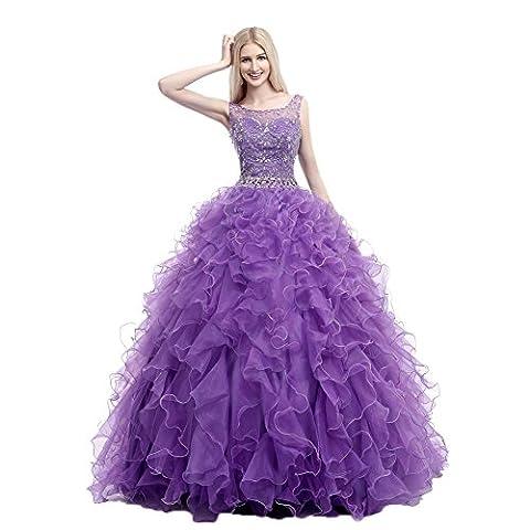 engerla Femme à Perles Sequins Robe boule en cascade en organza robe Quinceanera - violet - 34