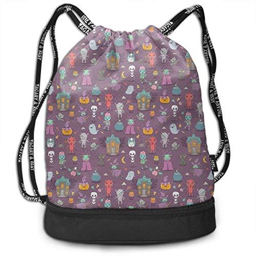 terproof Large Storage Drawstring Bag for Men & Women - Halloween Pattern Cinch Backpack Sackpack Tote Sack ()
