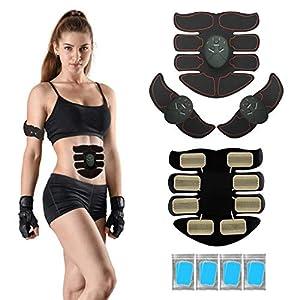 VOUMEY Elektrostimulation, EMS Bauchmuskeltrainer,Bauchgürtel Muskelaufbau ABS, Wireless Portable Bauch/Arm/Bein Trainer- Enthält 8 Free Ersatz Gel Pads- Unisex