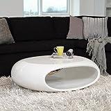 Unbekannt Design Couchtisch SPACE oval, weiß Hochglanz, Wohnzimmertisch Maße 100x70cm, 4199