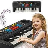 Murieo Kinder Tragbare 37 Tasten Multifunktionale Elektrische Klaviertastatur,Elactric Piano Keyboard, Pädagogisches Spielzeug (Schwarz)