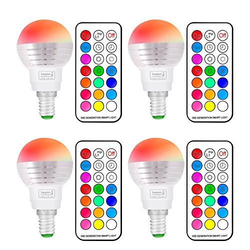 (4Pack)RGBW Lampe de Table LED, Sunpion 3W Multicolor Couleurs Changement LED Bulb, Lampe d'ambiance