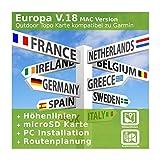 Europa V.18 MAC Version - Profi Outdoor Topo Karte kompatibel zu Garmin Navigation - Zum Wandern, Geocachen, Bergsteigen, Fahrrad, Radfahren, Radtour - MAC Version