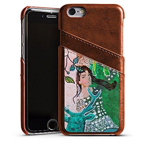 Apple iPhone 4 Housse Étui Silicone Coque Protection Femme Femme Cerf Étui en cuir marron
