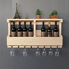 Idea Regalo - JIA JIA HOME- Scaffale del vino Mobile da parete in legno da appoggio, portabottiglie da esposizione vintage per bottiglie di champagne, contiene 8 bottiglie di vino e 8 bicchieri, colore legno, L80 * D13 * H42cm