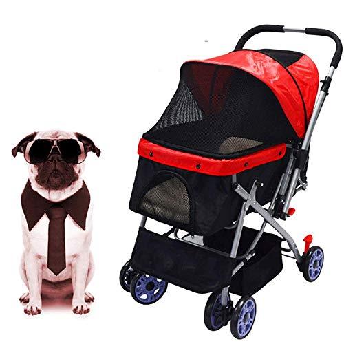 PLDDY Cochecito de Paseo para Mascotas para Gatos/Perros, Entrada sin Cremalleras, Pliegue fácil con una Sola Mano, (Color : Red)