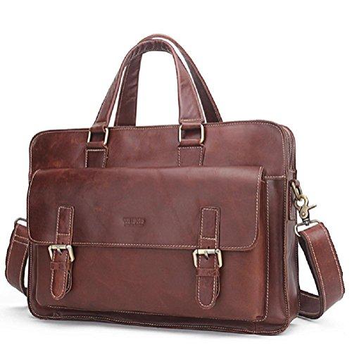 Große echte Leder Aktentasche Business Bag 16 Zoll Laptop Tasche Office Bag Attache Arzt Tasche Anwalt Tasche - Zeit Widerstand
