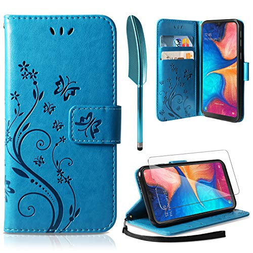 ivencase Samsung Galaxy A20e Case, Samsung Galaxy A20e Wallet Case PU Leather Wallet with Card Slots Stand Magnetic Clasp Scratchproof Bookstyle Case for Samsung Galaxy A20e Blue