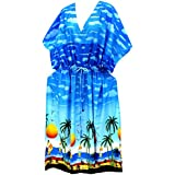 La Leela caftán largo azul vestido de ropa de playa kimono traje de baño de las mujeres cubre para arriba desgaste de la noche