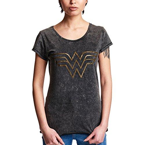 Mujer Maravilla Camiseta de Las señoras Camisa del Logotipo del Negro - M