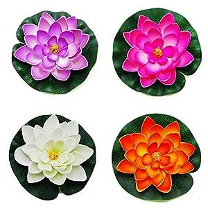 Newin Star Flotantes de la charca de la decoración del Lirio de Agua/Espuma de Lotus Flor, Pequeño (Juego de 4)