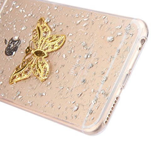 iPhone 6 Plus Hülle,iPhone 6s Plus Case,iPhone 6 Plus Bling Case - Felfy Ultradünne Transparent Gel TPU Silikon Diamond Skin Bling Glitte Kristall Schutzfolie Glitzer Silber Silikon Crystal Case Durch Silber Case Butterfly