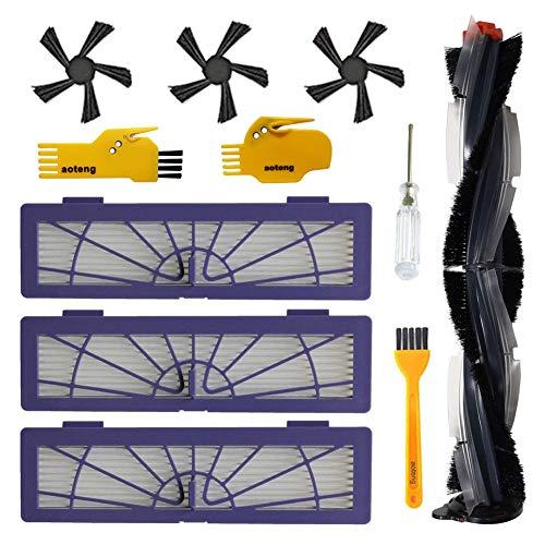Zubehör-Kit für Neato Botvac D-Serie Roboter-Staubsauger D3 D5 D75 D80 D85 Ersatzteile Packung mit 1 Hauptbürste, 3 Hepa-Filtern, 3 Seitenbürsten, 2 Reinigungswerkzeug