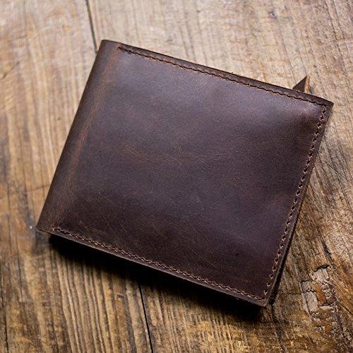 Kurze handgefertigte Leder Herren Geldbörse, Retro horizontale Tasche, Dunkelbraun Dark brown