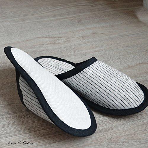 Linen & Cotton Chaussons de Bain de Luxe Hommes/Femmes TOKHI - 100% Lin Rayé