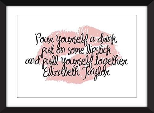 Set von 4 Lippenstiften Zitate A3 / A4 / A5 / 5 x 7/8 x 10 Typografie Kunstdrucke - Taylor, Chanel, Von Teese und Hepburn