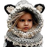 Bonnet Chaud Chapeau Cagoule Renard Bebe Enfant Echarpe Hiver Automne en Laine Tricote - Koobea (Gris)