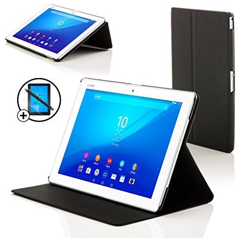 Forefront Cases® Neue Leder Hülle / Tasche / Case / Cover für Sony Xperia Z4 Tablet-PC (25,6 cm 10,1 zoll) SGP771 (Juni 2015) - Rundum-Geräteschutz und intelligente Auto-Sleep-Wake-Funktion mit 3-JAHRES-GARANTIE VON FOREFRONT CASES - inkl. Eingabestift (Clam Shell Tasche)