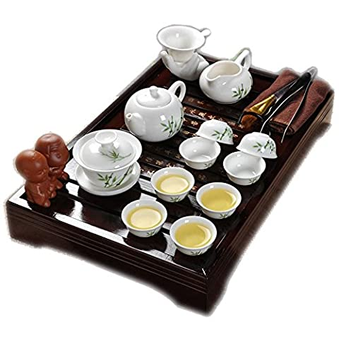 Ufengke®Best Green Bamboo Leaf Ceramic Kung Fu Tea Set Tea Service With Tea Tray