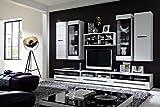 Stella Trading TV-Wohnlösung inklusive LED-Beleuchtung Set 8-teilig, Holz, weiß, 300 x 50 x 200 cm