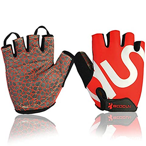Best Spring Summer Autumn Pro Fingerless Cycling Gloves Jel Padded M Red For Mountain Road Racing Biking Cross Training Gym Workout Exercise & Other Outdoor