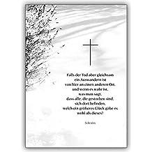 Bon 4 Trauerkarten (4er Set): Bewegende Beileidskarte Mit Einem Sokrates Zitat  Als Trauerspruch