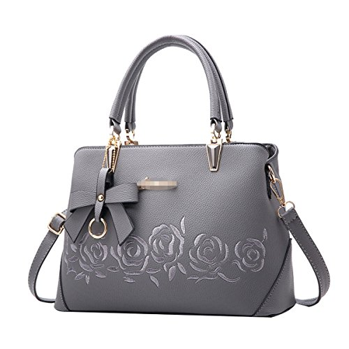 Lady Fashion Rose Imbottitura Borsa Donne PU Borsa Satchel Tote Shoulder Bag Multicolor Grey