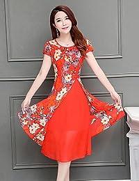 0035095126a2 DESY Linea A Vestito da Donna-Casual Taglie Forti Vintage Fantasia Floreale  Rotonda Medio Manica Corta Poliestere Estate A Vita…
