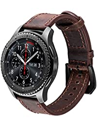 Für Gear S3 Armband, iBazal Gear S3 Frontier/ Classic Uhrenarmband 22mm Premium Soft Echtes Lederband für Samsung Gear S3 Frontier/ Classic SM-R760 [Vintage Serie] - Kaffee/Schwarz