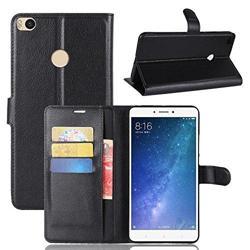 ECENCE Funda para el Xiaomi Mi MAX 2 Libro Cover Wallet Case-s Bolsa Negro 11010206