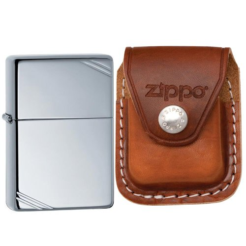 Zippo High Polish Chrome Vintage Feuerzeug (High Vintage Polish)