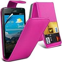 Cover in pelle (Hot Pink) Scheda di Huawei Y530 protezione Faux di Credito / Debito cuoio di vibrazione, schermo di tocco penna stilo a scomparsa e LCD Screen Protector Guard Entro * Aventus *