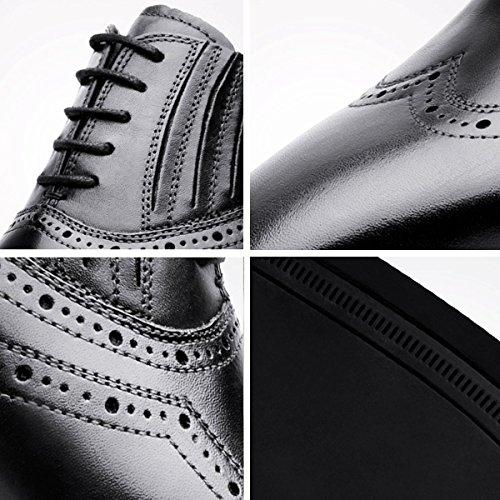 Desai Herren schnüren sich oben Oxford Brogues Formal Schuhe Goodyear Welted Echtes Leder in Schwarz Schwarz