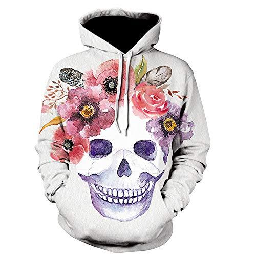 Kabel Stricken Pullover Muster (SHINEHUA Halloween Skull Hoodie Herren Sweatshirt Totenkopf Kapuzenpullover Langarm 3D Druck Muster Kapuzenpulli Sweatjacke Streetwear Mode Kapuzenshirt Pullover T-Shirt Tops)