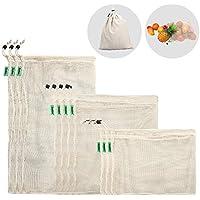 E-Know Gemüsebeutel aus Baumwolle,11er Set Obst und Gemüsebeutel Natural Mesh Baumwolle, Zero-Waste (3 Kleine, 4 Mittlere, 3 große, 1 Aufbewahrungstasche)