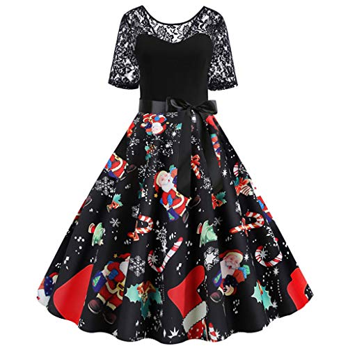 Auifor Women Christmas Dresses Vintage Novelty Short Sleeve O-Neck Lace Patchwork Lovely Christmas Print Evening Party Flare Dress Daily Xmas Dresses(E-Black ,XL)