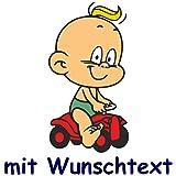 Windel Winni Bunter Babyaufkleber mit Name/Wunschtext - Motiv BWW3