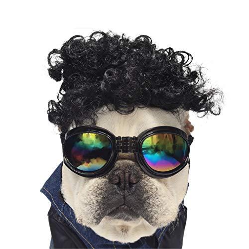 NICREW Haustier Perücke, Bulldog Haar Halloween Kostüm Maskottchen Kostüm, Halloween Kostüme für Hunde Kostüm lustige Maskerade-Party-Aktivität -