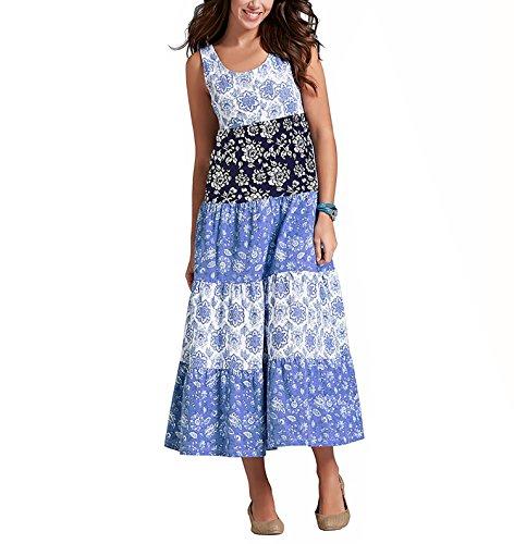 CoCo Fashion Damen Sommerkleid Ärmellos Bohemian Style Maxikleid im modischen Ethno-Look (EU L, Z605_Blau) (Modisch Frühjahr)