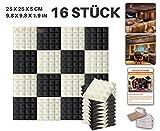 Acepunch 16 Stücke SCHWARZ UND PERLWEISS Kombination Pyramide Akustikschaumstoff Schallschutzisolierung