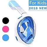 Tuba Masque, Trimagique panoramique à 180° complète Motif visage avec grande Zone de visualisation–Facile haleine et GoPro Compatible avec anti-buée et anti-fuite (2017Nouvelle version) XS Kids White Blue