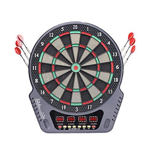 ZZKJNIU Electronic Dart Target Set - Automatisches Scoring Dart Board Voice Reporting Familienunterhaltung oder Party in der Bar, 27 Spiele für 1-16 Personen,Black (Protector Dart-board)