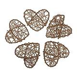 Beige Motivo Cuori 50 x 38 x 33 cm Circa Cesto di Vimini Rettangolare Foderato per Biancheria JVL Hearts