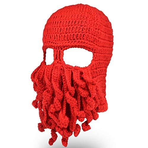 opus Ski Maske Bart Balaclava Hut Halloween Knit Beanie handgemachte Unisex rot ()