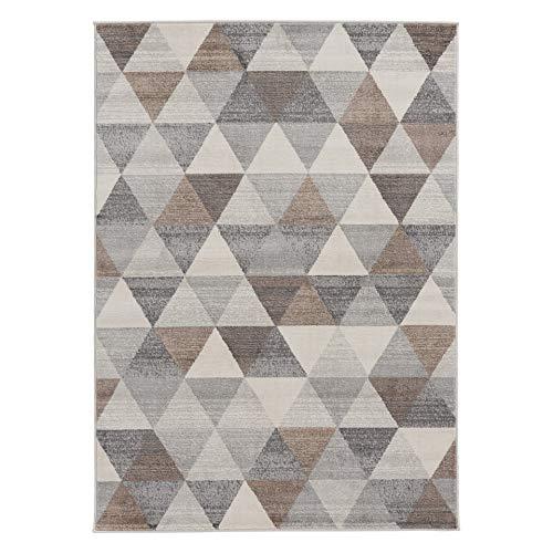 mynes Home Moderner Kurzflor Teppich in Beige Grau Braun mit geometrischen Dreick Muster auch als Wohnzimmerteppich und Kinderzimmer geeignet (160x230 cm) -