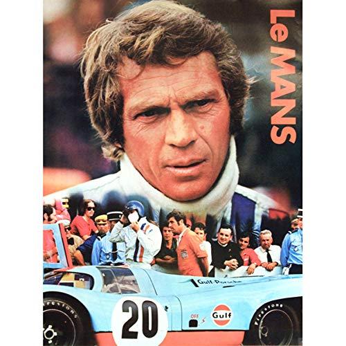 Wee Blue Coo LTD Sport Advert Le Mans Endurance 24 Hour Motor Race Steve McQueen Large Art Print Poster Wall Decor 18x24 inch